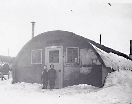 Anchorage Quonset Hut school, 1948. This building was the overflow classroom for Chugach Elementary, the only elementary school at the time.