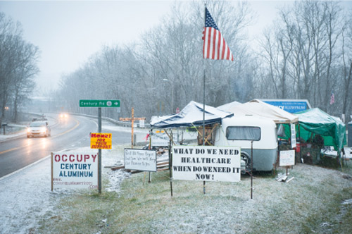 For 75 days, Dec. 18, 2011 - March 2, 2012, the Occupy Century Aluminum retirees braved the winter cold and snow, camping out at the entrance to the Century Aluminum facility in Ravenswood, W. Va., staying until Century agreed to return their healthcare benefits.