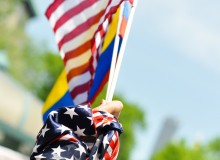 Also at the immigration rally in NYC. Just a cool photo of some flags.