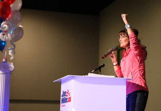 Former Gov. Sarah Palin stumps for potential future Senate rival Joe Miller in 2010. Photo: Jeanne Devon