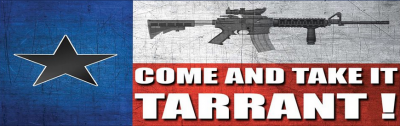 Screenshot of the facebook banner image for the Tarrant County Come And Take It