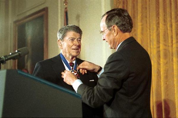 Shown here receiving the Medal of Freedom in 1993