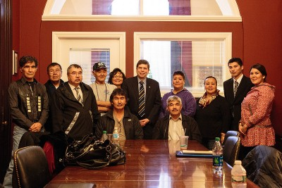 Senator with a delegation representing the anti-Pebble Mine Group, United Tribes of Bristol Bay. (Photo Sen. Begich's office)