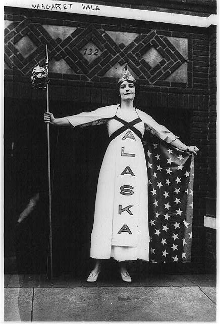 Margaret Vale Howe, niece of President Wilson, at a New York Suffrage Parade in 1915. Alaska women had the right to vote two years before.