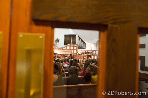 Looking in from the lobby of the Ebenezer Church.