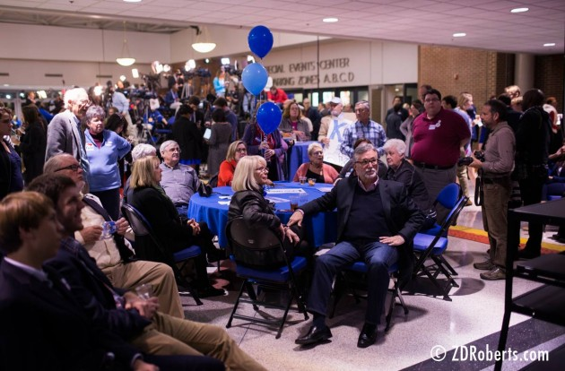 Democrats await election returns at the Kay Hagan election night party.