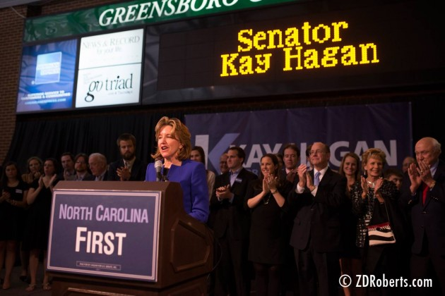 Senator Kay Hagan giving her concession speech in Greensboro, North Carolina - Tom Tillis won by a good sized margin of the vote.