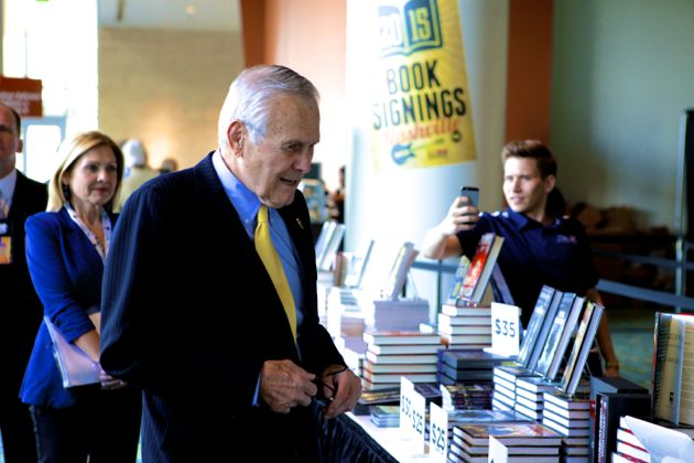 """Former Secretary of Defense, Donald Rumsfeld after he signed his book """"Known and Unknown"""" for attendees of the NRA annual meeting in Nashville."""