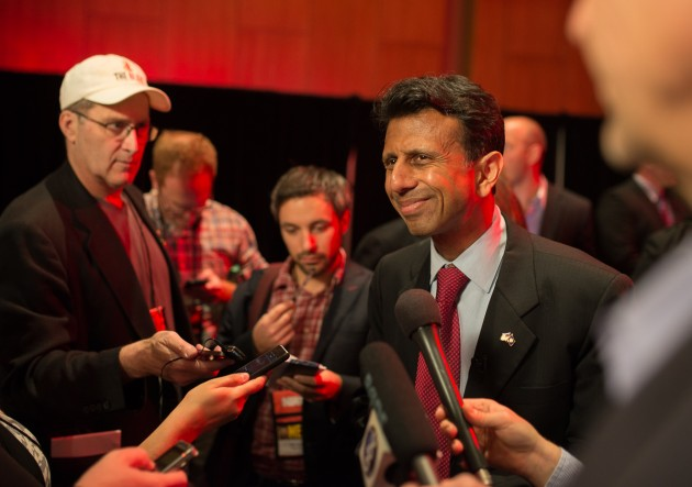 Louisiana Governor Bobby Jindal holds a brief press availability before the NRA Leadership Forum in Nashville. (photo: ZD Roberts)