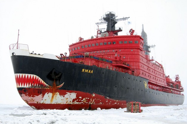 The Russian nuclear ice-breaker, Yamal. This is seriously a nuclear ice breaker, I'm not kidding.